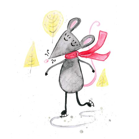 Watercolor hand drawn sketch illustration of Gray mouse in a scarf ice skating isolated on white Фото со стока