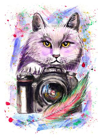 Hand-drawn watercolor illustration portrait of fluffy cat with a camera and feather