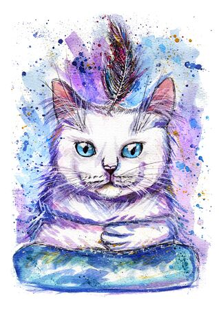 Hand-drawn watercolor illustration portrait of cat with feather.