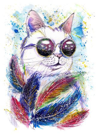 Hand-drawn watercolor illustration of cat in space glasses with feathers