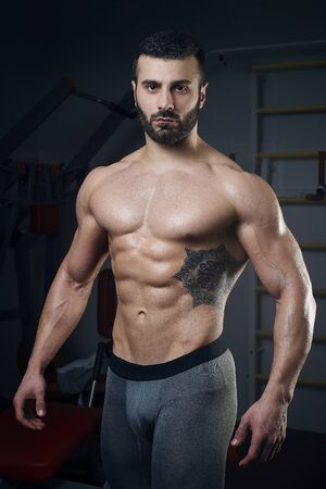physique: Mens physique athlete standing without t-shirt in the gym Stock Photo
