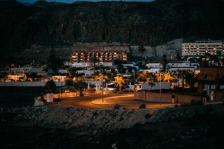 Little cosy town Palm Mar in the Tenerife in the evening. Tenerife