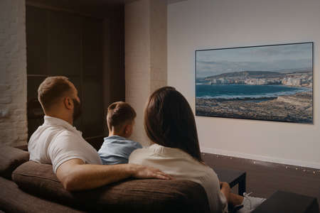 A photo from behind of a dad with a beard, a son, and a young mom which are watching a movie on a widescreen television set on the sofa. The family is enjoying a video together in the evening at home. Stock Photo