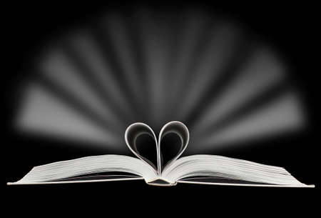 heart intelligence: Heart made of book pages with light flashing