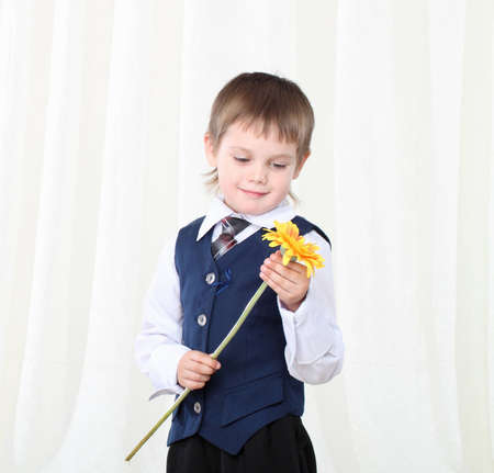 Little smart boy in suit hols yellow flower photo