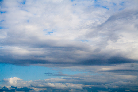 Blue sky with gray and white clouds. cumulonimbus. background, nature.