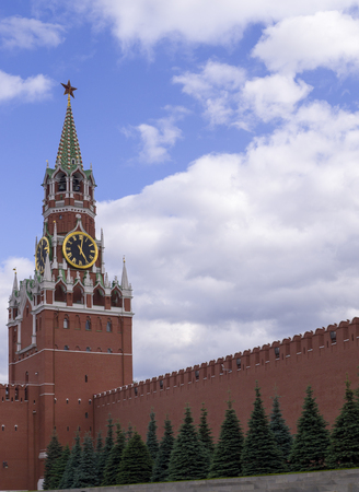 moscow kremlin wall with tower and fir-trees. background, travel 版權商用圖片