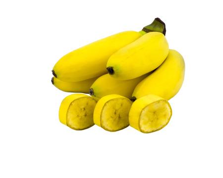 yellow ripe mini bananas isolated on white background. object, fruit Stockfoto