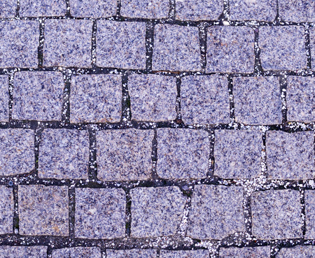 gray cobblestone tiled sidewalk pavement. background, texture.