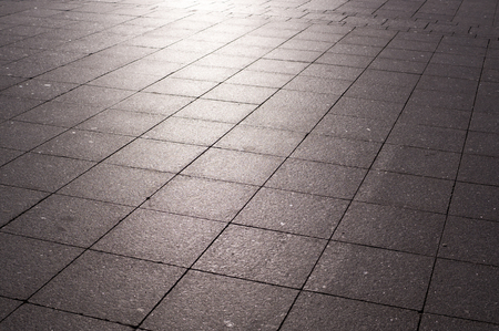 tile pavement with sunglares at sunrise. nature, environment.