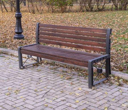 old wooden bench in a quiet autumn city part park. background, nature.