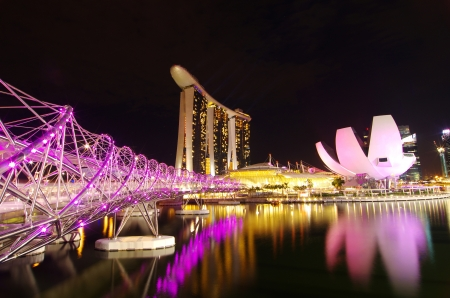 Night time around marina bay, singapore