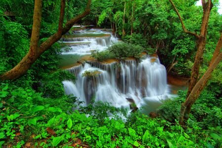 vivid waterfall, Huay mae Ka Min waterfall in kanchanaburi, Thailand  photo