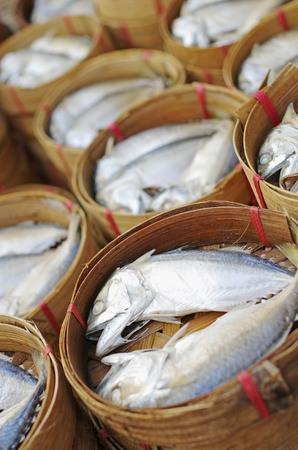 Mackerel fish in basket photo