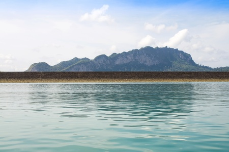 Ratchaprapha Dam with mountain background, Khaosok is Thailand Stock Photo - 18961412