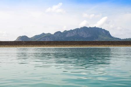 Ratchaprapha Dam with mountain background, Khaosok is Thailand Stock Photo - 18961412