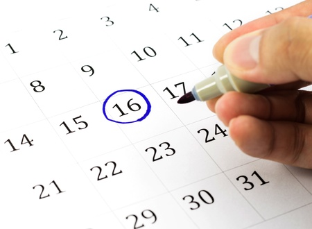 circle calendar date: Blue circle. Mark on the calendar at 16.