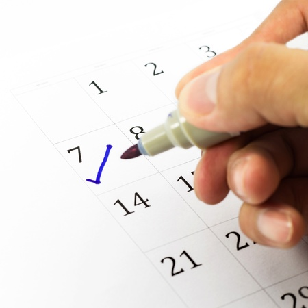 Blue check. Mark on the calendar at 7.