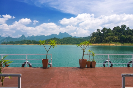 pontoon in front of the hut in Khaosok lake, Ratchaprapha Dam , Thailand photo