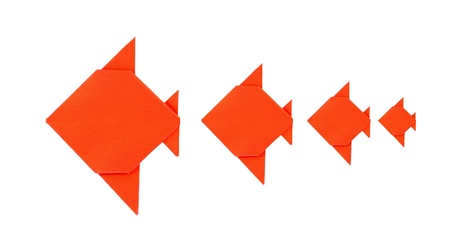 Four orange fish origami from paper on white background Stock Photo - 19123985