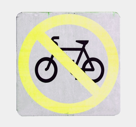 road signal: No cycling sign with yellow color on white background