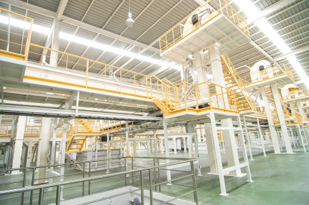 factory interior: Factory equipment  inside Industrial conveyor line transporting package