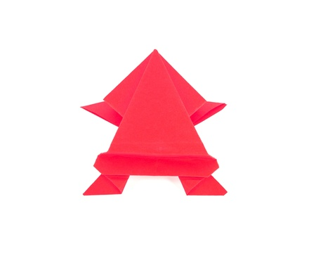 red color origami frog  photo