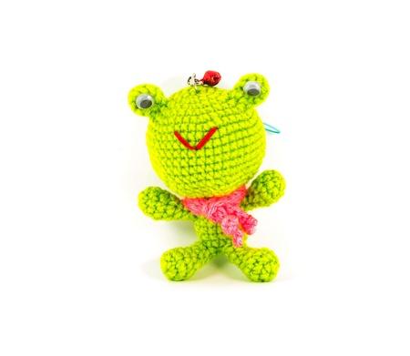 Handarbeit Gehäkelt Grünen Frosch Puppe Auf Weißem Hintergrund ...
