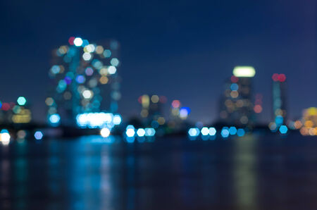 city by night: bangkok cityscape river view at twilight time, Blurred Photo bokeh Stock Photo