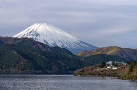 sight seeing: sight seeing from big ship on Hakone Lake with Fuji mountain background, Japan Stock Photo