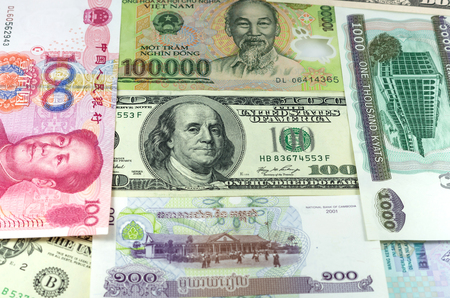 riel: assorted international paper money close up Stock Photo
