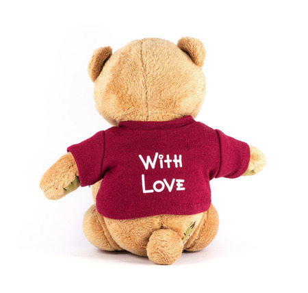 TEDDY BEAR brown color backside wear red shirt with Love on white background