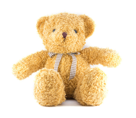 TEDDY BEAR brown color with ribbon on white background Banco de Imagens