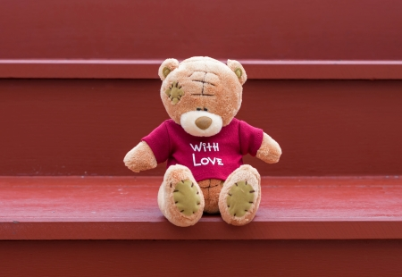 TEDDY BEAR brown color wear red shirt with love sitting on red staircase