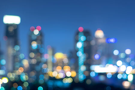 city by night: bangkok cityscape rivew view at twilight time, Blurred bokeh