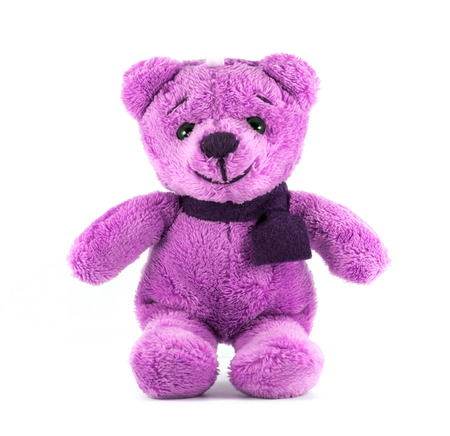 Hand made TEDDY BEAR purple color with scarf on white background