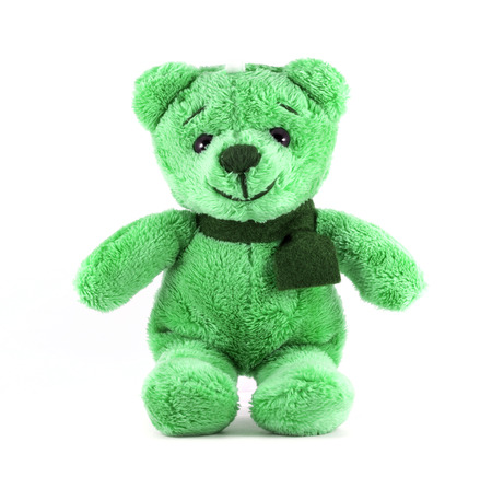 Hand made TEDDY BEAR green color with scarf on white background