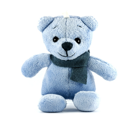 TEDDY BEAR blue color with scarf on white background