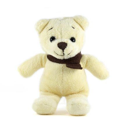 TEDDY BEAR yellow color with scarf on white background