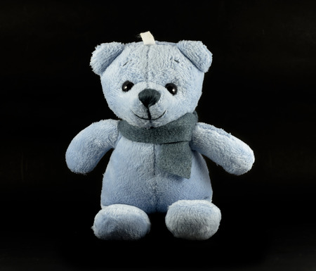 TEDDY BEAR blue color with scarf on black background