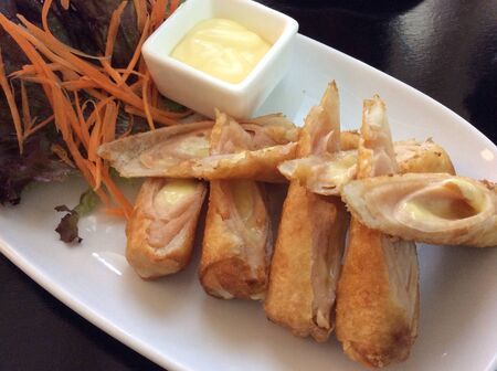 ham and cheese: Ham cheese stuff in fried spring rolls