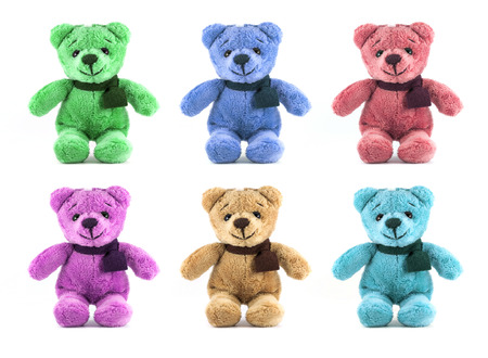 set of six color TEDDY BEAR with scarf on white background