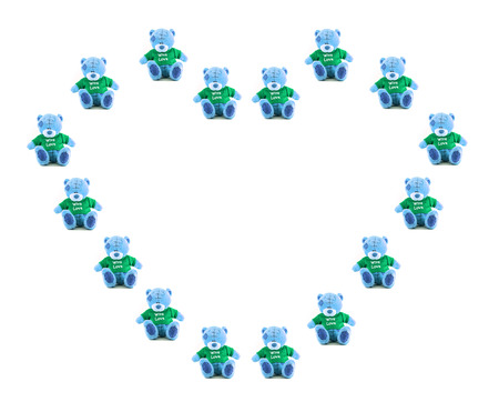 Heart Love of hand made TEDDY BEAR blue color with green shirt on white background