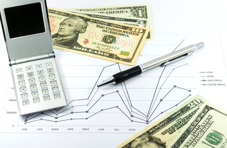 stock graph report with calculator, pen and usd money for business photo
