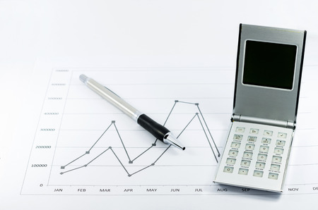 monthly salary: stock graph report with calculator and pen for business Stock Photo