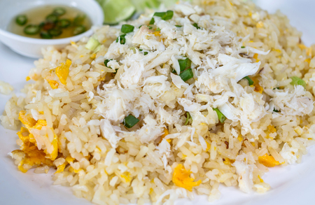 crabmeat: Fried rice with crab in plate,Thai cuisine Stock Photo