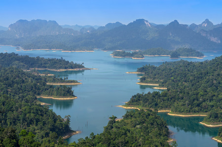 Mountain landscape from View point at Khaosok National Park, Ratchaprapha Dam, Thailand photo