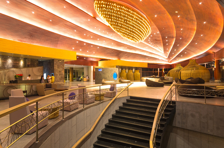 graceland: KHAOLAK, THAILAND - NOV 1 : Lobby of the SENTIDO Graceland Khao Lak Resort & Spa.  is located on Bangsak Beach in Khao Lak. Khao Lak is located 90 kilometres north of Phuket, on November 1, 2013 in Khaolak, Thailand Editorial