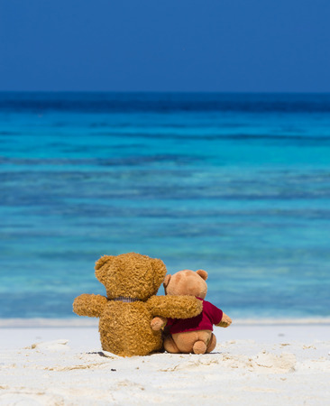 Two TEDDY BEAR brown color sitting on the beautiful beach with blue sea and sky photo