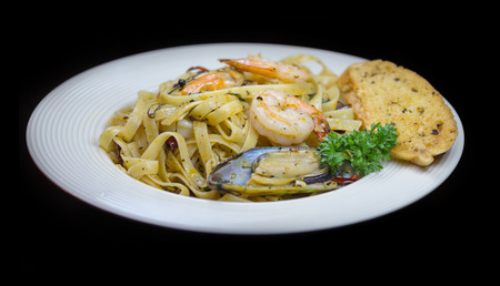 rocked: pasta with shrimps and mussel Stock Photo